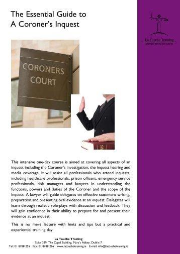 The Essential Guide to A Coroner's Inquest - La Touche Training