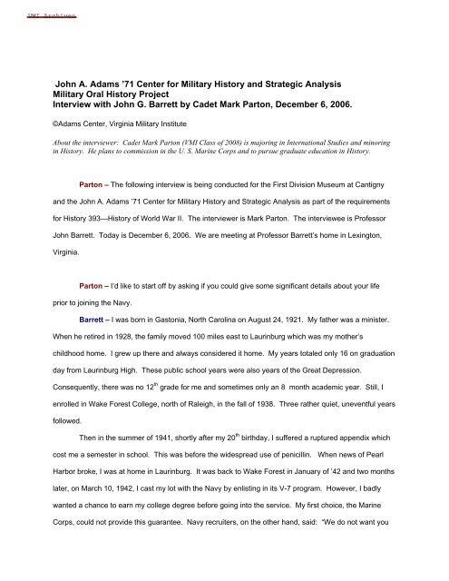 World War II Oral History John G Barrett Interview Transcript