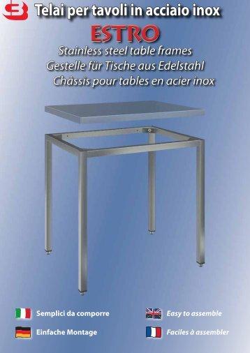Telai per tavoli in acciaio inox