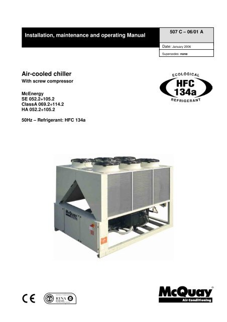 Air Cooled Chiller McQuay