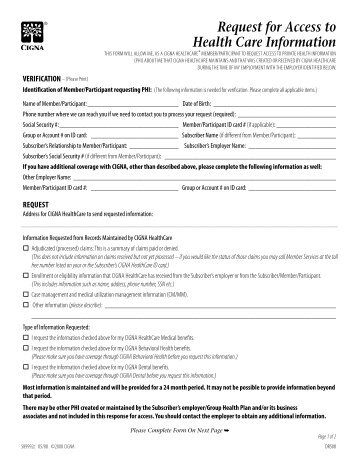 CIGNA HIPAA Authorization Form