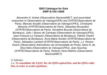 QSO Catalogue for Gaia GWP-S-335-13000 Alexandre H. Andrei ...