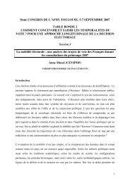 9eme CONGRES DE L'AFSP, TOULOUSE, 5-7 SEPTEMBRE 2007 ...