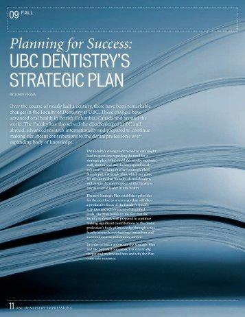 UBC DENTISTRY'S STRATEGIC PLAN