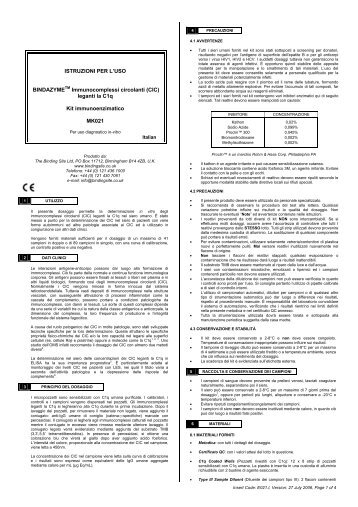 (CIC) leganti la C1q Kit immunoenzimatico MK021 - inova
