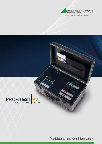 PROFITEST PV - Gossen-Metrawatt