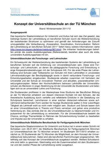 """Konzept """"Universitätsschule"""" - Lehrstuhl für Pädagogik - Technische ..."""