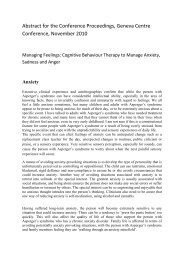 Cognitive Behaviour Therapy to Manage Anxiety, Sadness and Anger