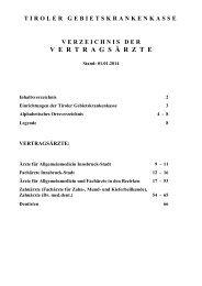Verzeichnis der Vertragsärzte - Stand 01.01.2014 - Tiroler ...