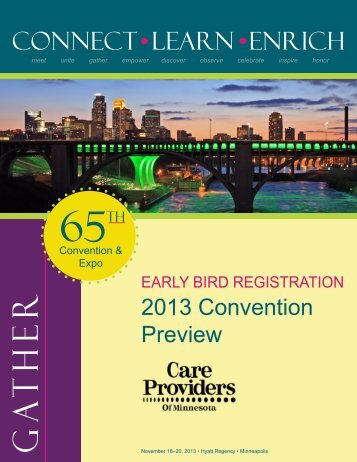 Early Bird Registration Brochure - Care Providers of Minnesota