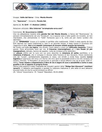Gruppo: Valle del Sarca - Cima: Monte Brento Via ... - Il Monodito