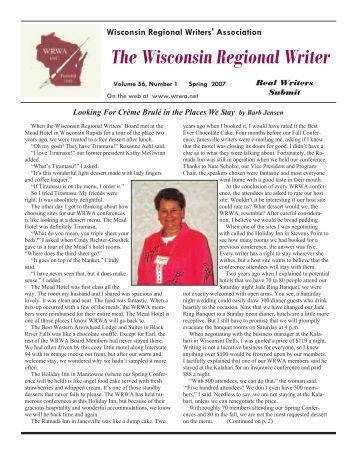 2007 Spring - Wisconsin Writers Association