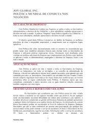 Política de Conduta Comercial - EthicsPoint