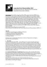 Lange Nacht der Wissenschaften 2013 Protokoll jour fixe 23. April ...