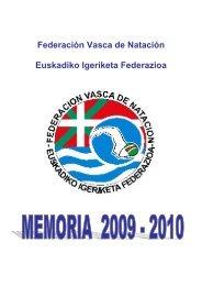 Memoria Deportiva 2009-2010 - Federación Vasca de Natación.