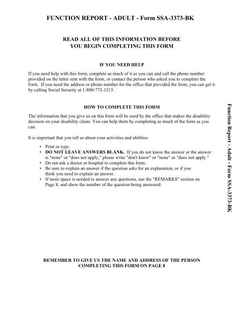 FUNCTION REPORT - ADULT - Form SSA-3373-BK - FM/CFS/ME