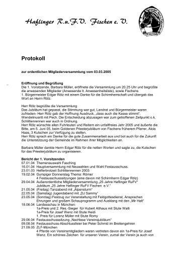 Protokoll - Haflinger Reit- und Fahrverein Fischen eV