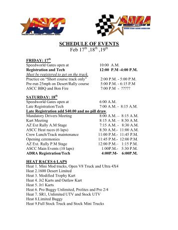 SCHEDULE OF EVENTS - arizona short course championship