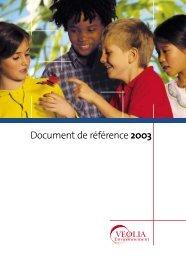Document de référence 2003 - Veolia Finance - Veolia Environnement