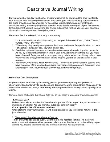 a descriptive essay on my vivid recollections How to write a descriptive essay as you write your descriptive essay, the best way to create a vivid spend a good deal of time drafting your recollections.