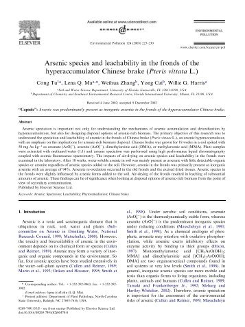 Arsenic species and leachability in the fronds of the ... - ResearchGate