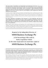 Response Circular to Revised Regus Offer - MWB Business Exchange