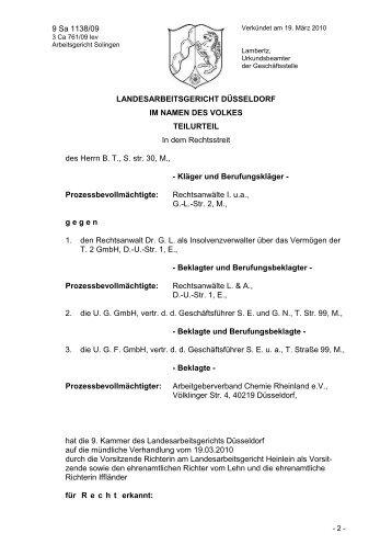 zur Entscheidung (PDF) - Schneider Geiwitz & Partner
