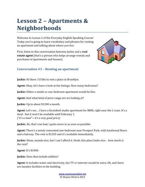 Lesson 2 – Apartments & Neighborhoods