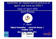 Syndrome de repolarisation précoce et sport que faire en 2010 ...