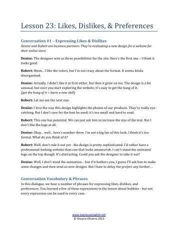 Lesson 23: Likes, Dislikes, & Preferences