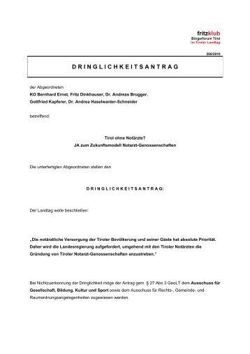 Dringlichkeitsantrag: Tirol ohne Notärzte? - Liste Fritz