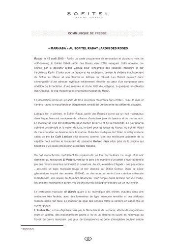 Communiqué de Presse Sofitel Rabat Jardin des Roses - FR