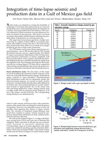 Integration of time-lapse seismic and production data in a Gulf of ...