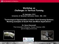 Workshop on Challenges in Vertical Farming - Field Robotics Center