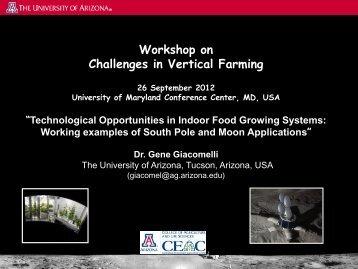 Workshop on Challenges in Vertical Farming - Field Robotics Center