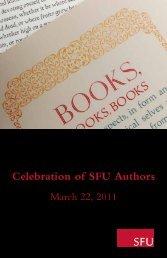 Celebration of SFU Authors - SFU Library - Simon Fraser University