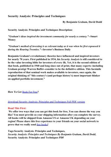 Security analysis the classic 1934 edition pdf ebooks free security analysis principles and techniques pdf ebooks free fandeluxe Image collections