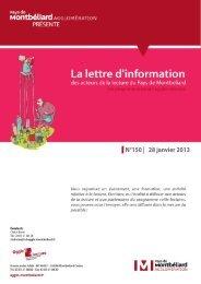 N°150 | 28 janvier 2013 - Pays de Montbéliard Agglomération
