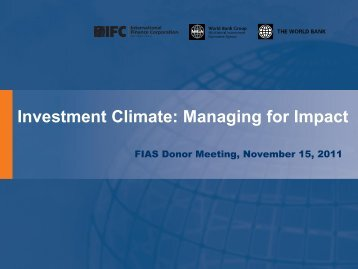 Session 2: Managing for Impact - Investment Climate