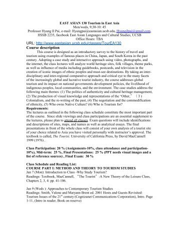 Syllabus/Schedule - Department of East Asian Languages and ...