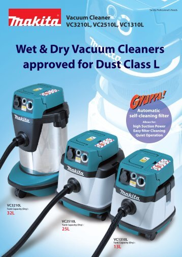 13L Wet & Dry Vacuum Cleaners approved for Dust Class L - Makita