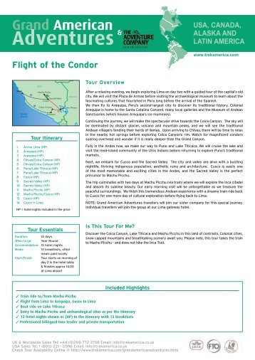 Flight of the Condor Tour Information - Adventure Holidays