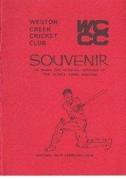 SOUVENIR - Weston Creek Cricket Club