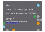 Australia – Coal Demand/Supply Outlook Department of Resources ...