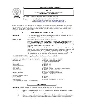 Admission Notification - NALSAR University of Law