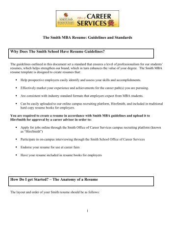 mba resume guidelines robert h smith school of business mba - Resume Guidelines