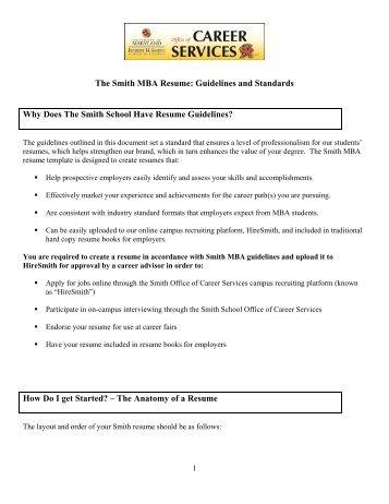 MBA Resume Guidelines   Robert H. Smith School Of Business MBA .  Resume Guidelines
