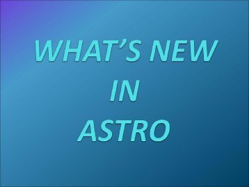 What's New in ASTRO - NCI