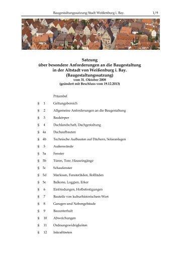 Baugestaltungssatzung - Stadt Weißenburg