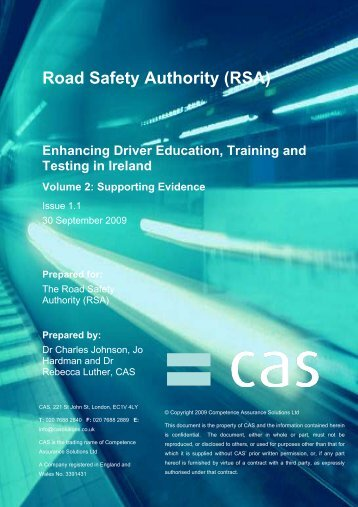 CAS Supporting Evidence - Road Safety Authority
